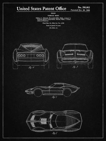 PP339-Vintage Black 1966 Corvette Mako Shark II Patent Poster