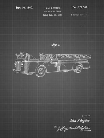 PP506-Black Grid Firetruck 1940 Patent Poster
