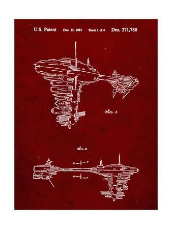 PP529-Burgundy Star Wars Redemption Ship Patent Poster