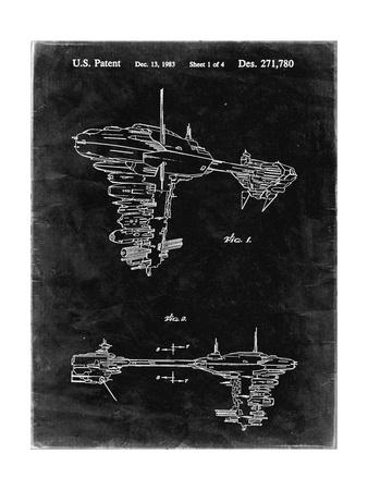 PP529-Black Grunge Star Wars Redemption Ship Patent Poster