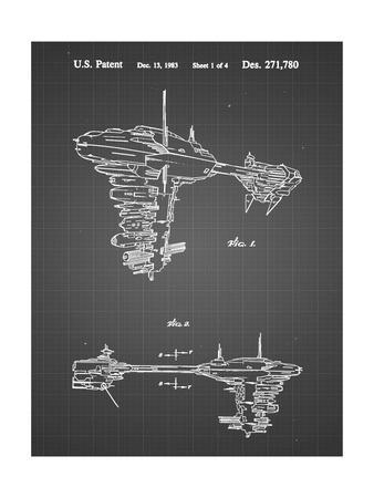PP529-Black Grid Star Wars Redemption Ship Patent Poster