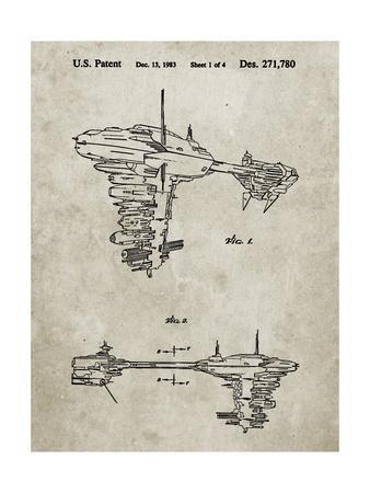 PP529-Sandstone Star Wars Redemption Ship Patent Poster