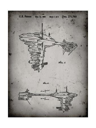 PP529-Faded Grey Star Wars Redemption Ship Patent Poster