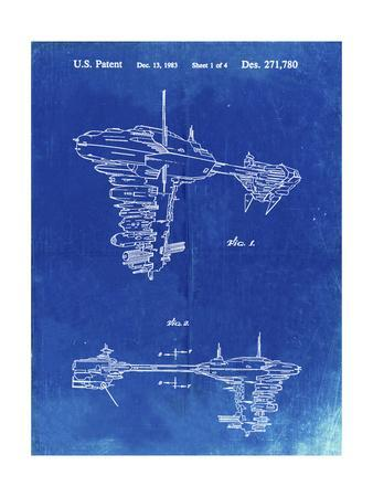 PP529-Faded Blueprint Star Wars Redemption Ship Patent Poster