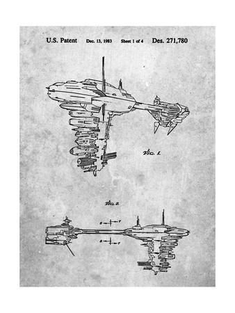 PP529-Slate Star Wars Redemption Ship Patent Poster