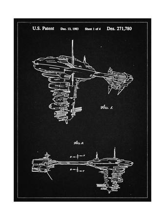PP529-Vintage Black Star Wars Redemption Ship Patent Poster
