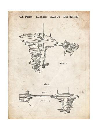 PP529-Vintage Parchment Star Wars Redemption Ship Patent Poster