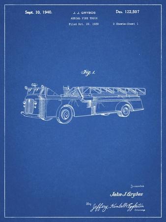 PP506-Blueprint Firetruck 1940 Patent Poster