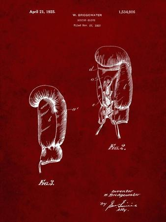 PP517-Burgundy Boxing Glove 1925 Patent Poster