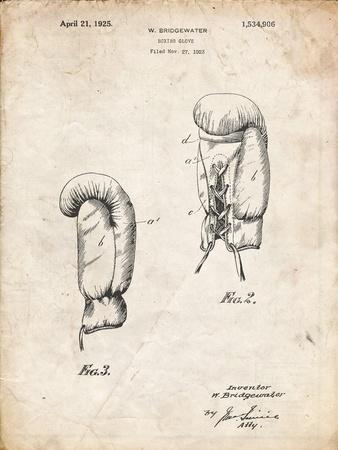 PP517-Vintage Parchment Boxing Glove 1925 Patent Poster