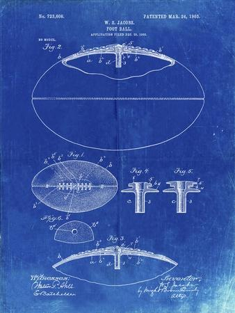 PP601-Faded Blueprint Football Game Ball 1902 Patent Poster