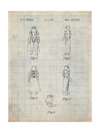 PP645-Antique Grid Parchment Star Wars Snowtrooper Patent Poster