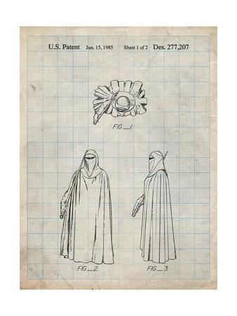 PP598-Antique Grid Parchment Star Wars Imperial Guard Patent Poster