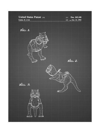 PP621-Black Grid Star Wars Tauntaun Patent Poster