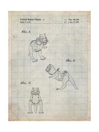 PP621-Antique Grid Parchment Star Wars Tauntaun Patent Poster