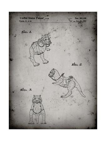 PP621-Faded Grey Star Wars Tauntaun Patent Poster