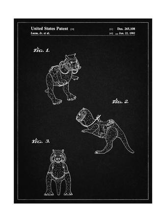 PP621-Vintage Black Star Wars Tauntaun Patent Poster