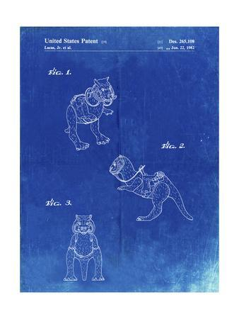 PP621-Faded Blueprint Star Wars Tauntaun Patent Poster