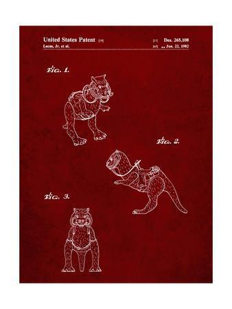 PP621-Burgundy Star Wars Tauntaun Patent Poster