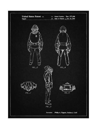 PP688-Vintage Black Star Wars Admiral Ackbar Patent Poster