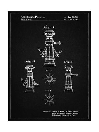 PP665-Vintage Black Star Wars FX-7 Medical Droid Patent Poster