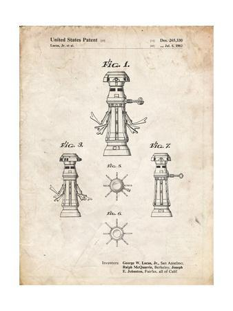 PP665-Vintage Parchment Star Wars FX-7 Medical Droid Patent Poster