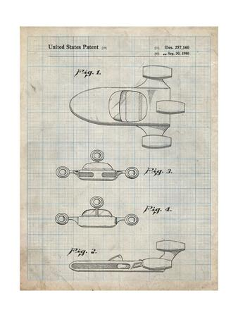PP673-Antique Grid Parchment Star Wars Landspeeder Patent Poster
