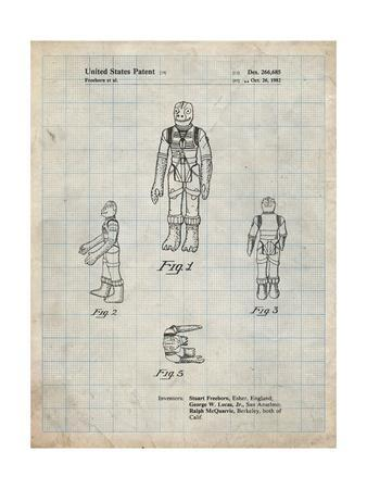 PP681-Antique Grid Parchment Star Wars Bossk Patent Poster
