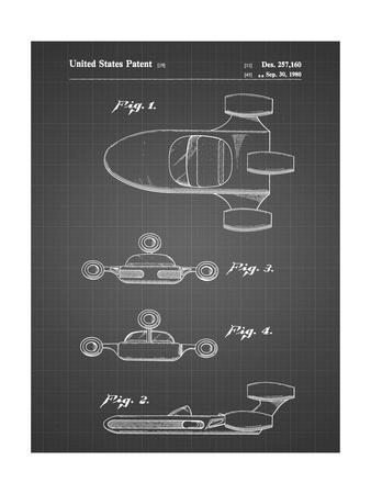 PP673-Black Grid Star Wars Landspeeder Patent Poster