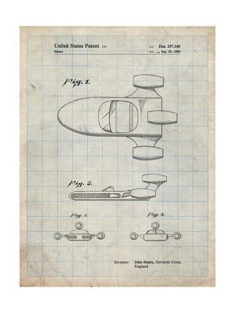 PP650-Antique Grid Parchment Star Wars X-34 Landspeeder Patent Poster
