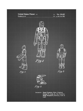 PP681-Black Grid Star Wars Bossk Patent Poster
