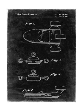 PP673-Black Grunge Star Wars Landspeeder Patent Poster