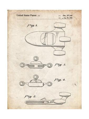 PP673-Vintage Parchment Star Wars Landspeeder Patent Poster