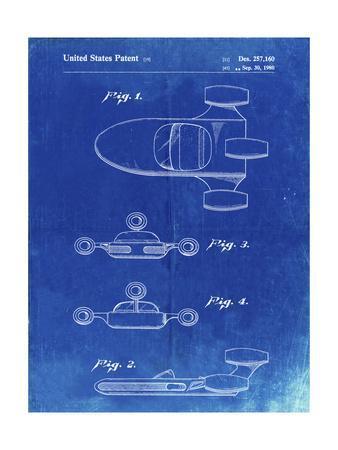 PP673-Faded Blueprint Star Wars Landspeeder Patent Poster