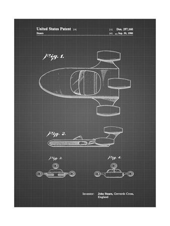 PP650-Black Grid Star Wars X-34 Landspeeder Patent Poster