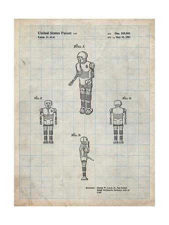 PP691-Antique Grid Parchment Star Wars Medical Droid Patent Poster