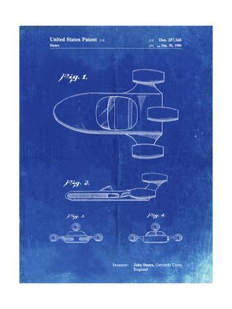 PP650-Faded Blueprint Star Wars X-34 Landspeeder Patent Poster