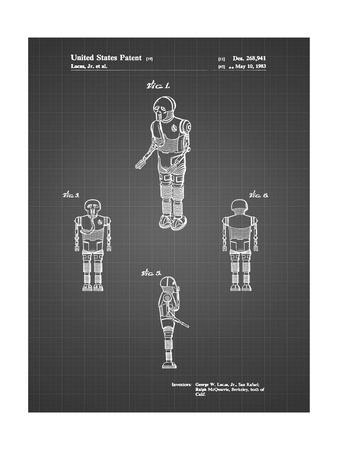 PP691-Black Grid Star Wars Medical Droid Patent Poster