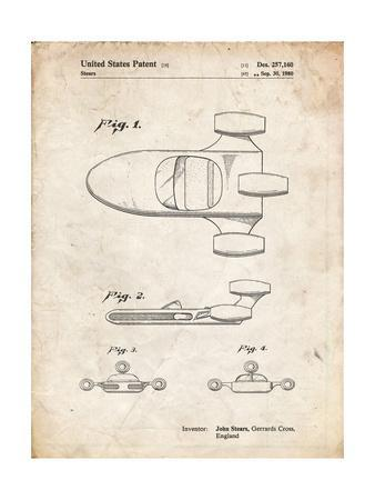 PP650-Vintage Parchment Star Wars X-34 Landspeeder Patent Poster