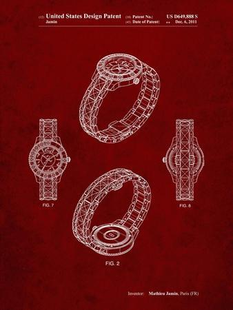 PP651-Burgundy Luxury Watch Patent Poster