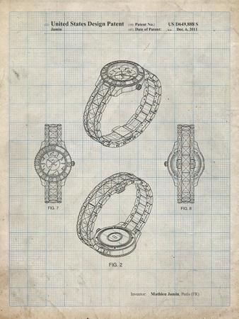 PP651-Antique Grid Parchment Luxury Watch Patent Poster