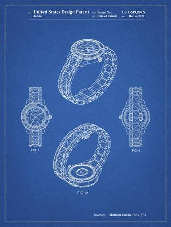 PP651-Blueprint Luxury Watch Patent Poster