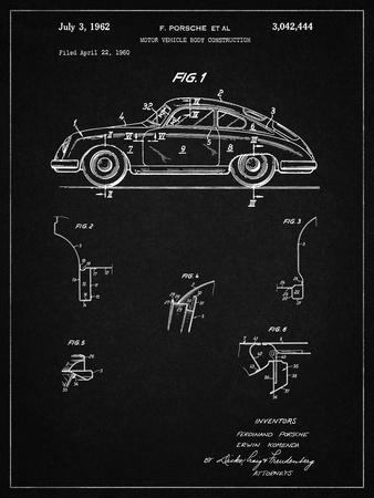 PP698-Vintage Black 1960 Porsche 365 Patent Poster