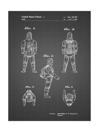 PP668-Black Grid Star Wars Dengar Patent Poster