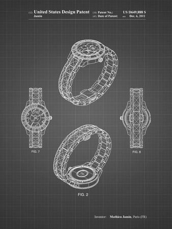 PP651-Black Grid Luxury Watch Patent Poster