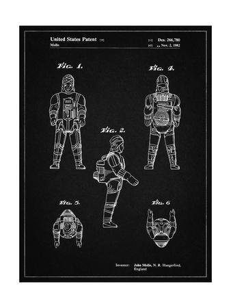 PP668-Vintage Black Star Wars Dengar Patent Poster