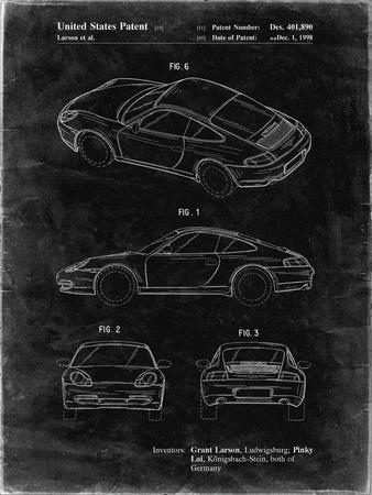 PP700-Black Grunge 199 Porsche 911 Patent Poster