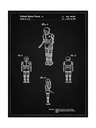 PP691-Vintage Black Star Wars Medical Droid Patent Poster