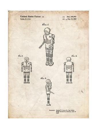 PP691-Vintage Parchment Star Wars Medical Droid Patent Poster