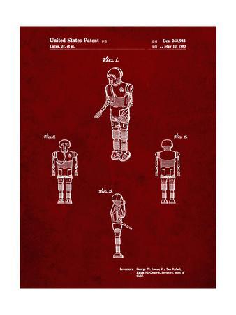 PP691-Burgundy Star Wars Medical Droid Patent Poster